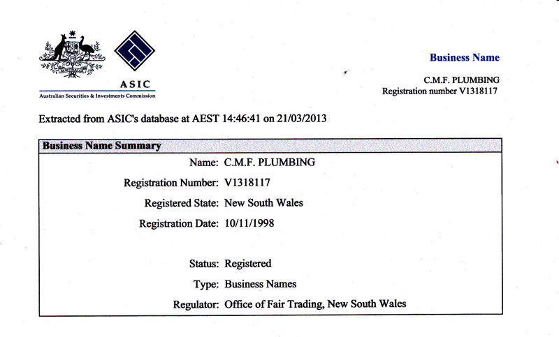 Business Name summary - ASIC