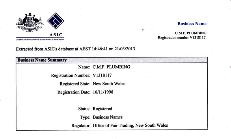 Business Name summary - ASIC
