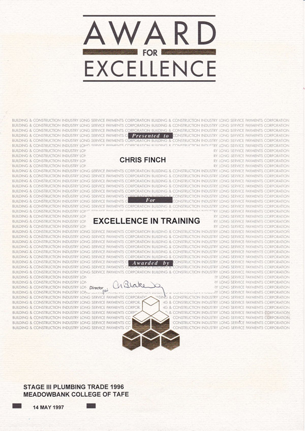 Award of excellence - TAFE