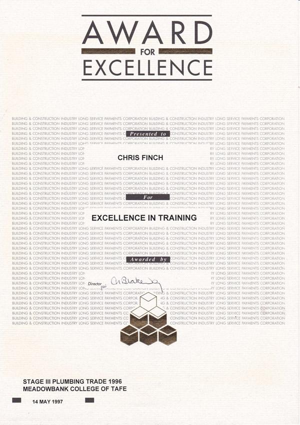 Award of excellence - TAFE