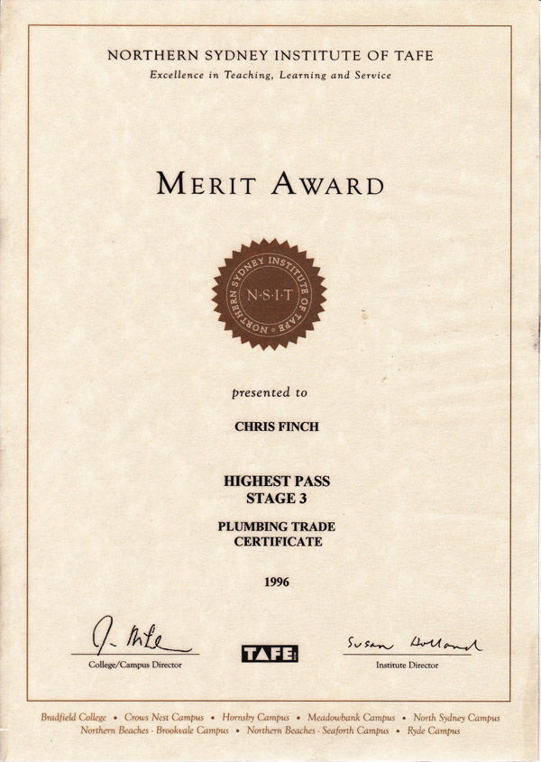 Merit award - TAFE