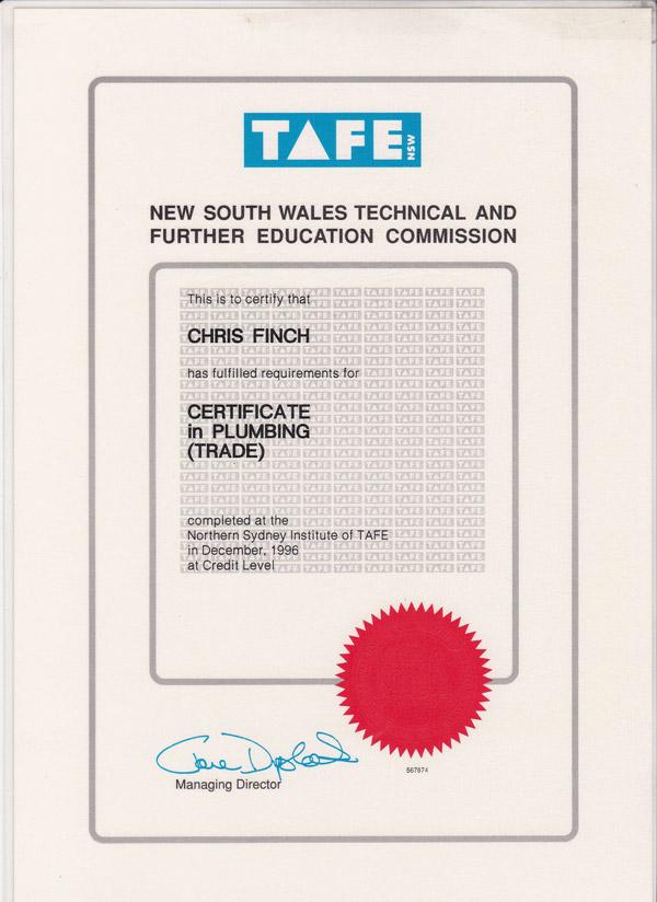 Certificate in Plumbing - TAFE