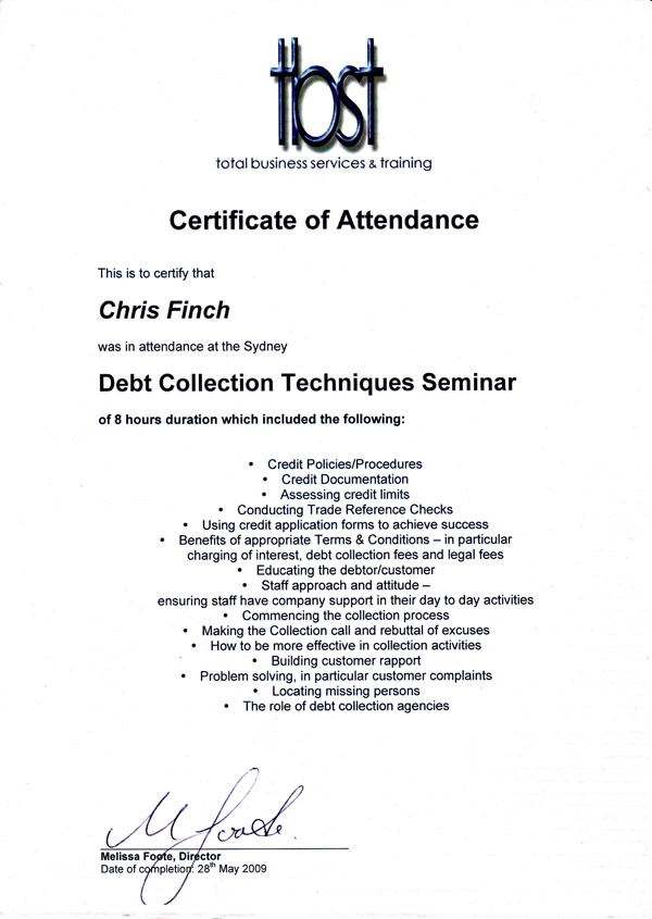 Debt Collection Seminar - TBST