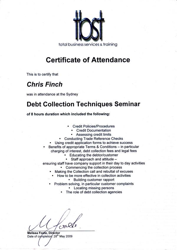Debt Collection Seminar - TBST