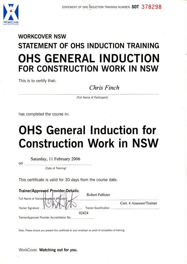 Work Cover OHS Induction