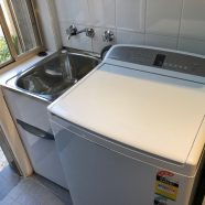 New laundry tub and cut bench top at Chatswood West